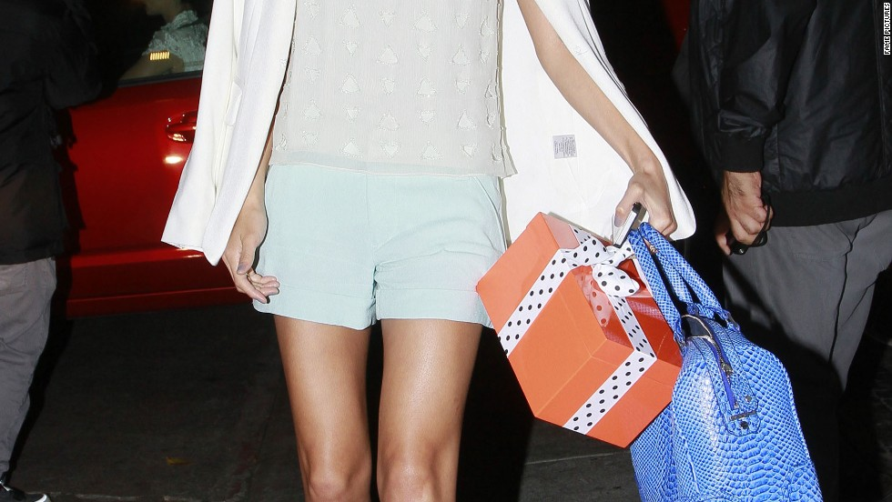 Jamie Chung leaves her hotel in Los Angeles.
