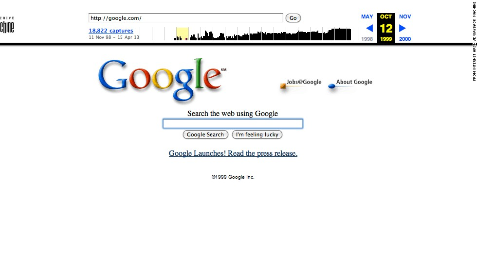 "The <a href=""http://google.com"" target=""_blank"">Google.com</a> landing page of October 1999 looks similar to its current version. But the site now offers many other services beyond search."