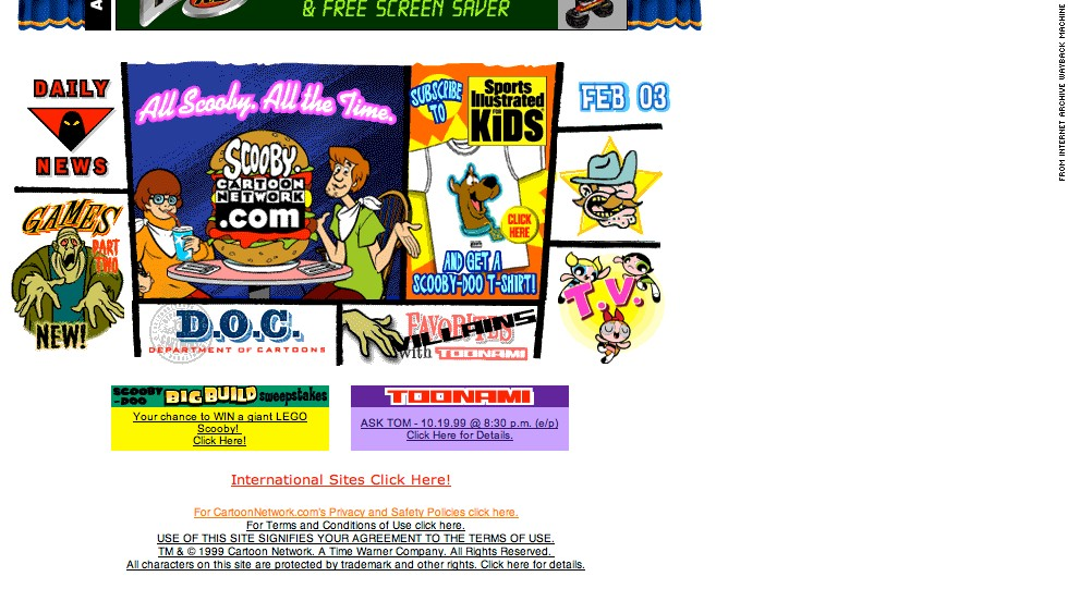 """The first website I ever went to was Cartoon Network's, circa 1998,"" said a commenter named maxemoose36. ""I remember I was looking for something about Johnny Bravo."" This screenshot of <a href=""http://cartoonnetwork.com"" target=""_blank"">cartoonnetwork.com</a> is from October 1999."