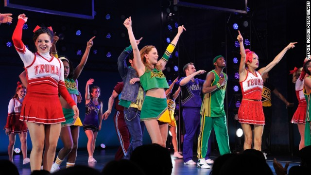 Castmembers gather on stage for the 'Bring It On: The Musical' Broadway Opening Night Curtain Call at St. James Theatre on August 1, 2012 in New York City.