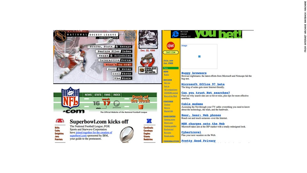 "A commenter with the username Kandric suggested several memorable websites from the 1990s. Shown here are <a href=""http://nhl.com"" target=""_blank"">nhl.com</a> and <a href=""http://nfl.com"" target=""_blank"">nfl.com</a> as they appeared in December 1996, plus <a href=""http://CNET.com"" target=""_blank"">CNET.com</a> as it was seen in October 1996."