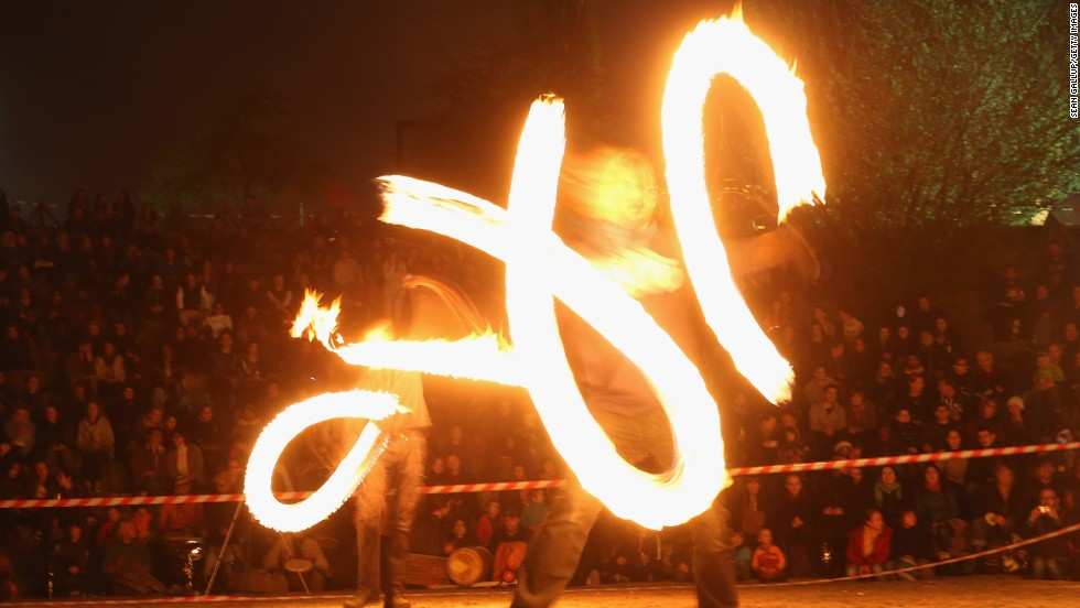 Fire dancers perform on Walpurgis night on April 30 in Berlin, Germany. Walpurgis night is celebrated in many parts of central Europe as the end of winter, with the ritual burning of a straw witch.