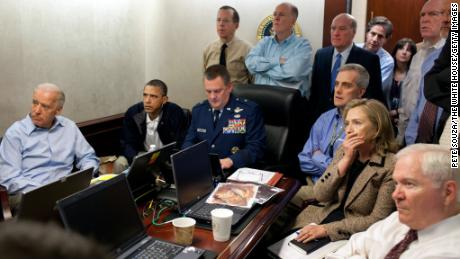 President Barack Obama, Vice President Joe Biden, Secretary of State Hillary Clinton and members of the national security team receive an update on the mission against Osama bin Laden in the Situation Room of the White House on May 1, 2011 in Washington, in this image provided by the White House.