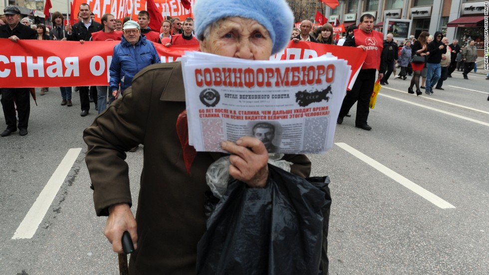 An elderly activist attends a traditional May Day Communist rally in Moscow.