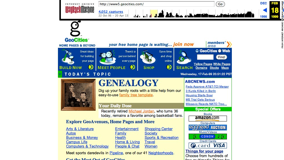 Back when the homepage was king, GeoCities had the online neighborhood for you. It was founded in 1994 and closed down in 2009. This screenshot shows the site as it looked back in February 1999, just a few weeks after Yahoo announced it was going to purchase the site.