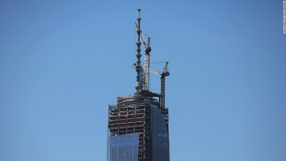 The spire is perched on a temporary platform on the top of One World Trade Center on Thursday, May 2. The memorial building sits on ground zero, the site of the World Trade Center twin towers, which were destroyed in the September 11 terrorist attacks.