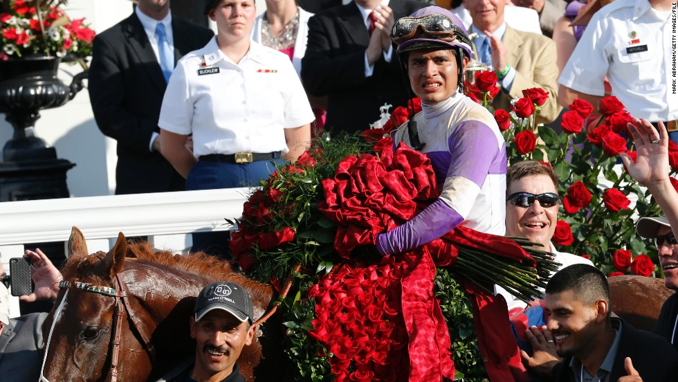 Today, Latin American jockeys dominate the sport. Mario Gutierrez (pictured)won last year's derby on I'll Have Another. This weekend, the favorite to win the race is Puerto Rican John Velazquez, with Krigger second favorite.