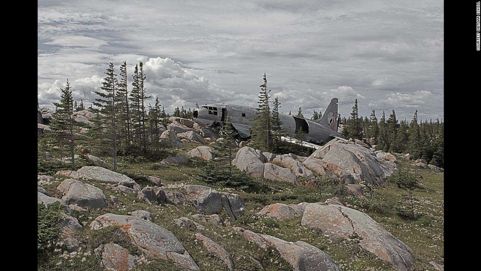 "This Curtiss C-46 Commando, a transport aircraft, went down in Manitoba, Canada, nearly 35 years ago. In a wreckage search, proper orientation is a must, says Eckell. ""You should know exactly where you want to go; in thick bush even the smallest mistake can get you lost."""