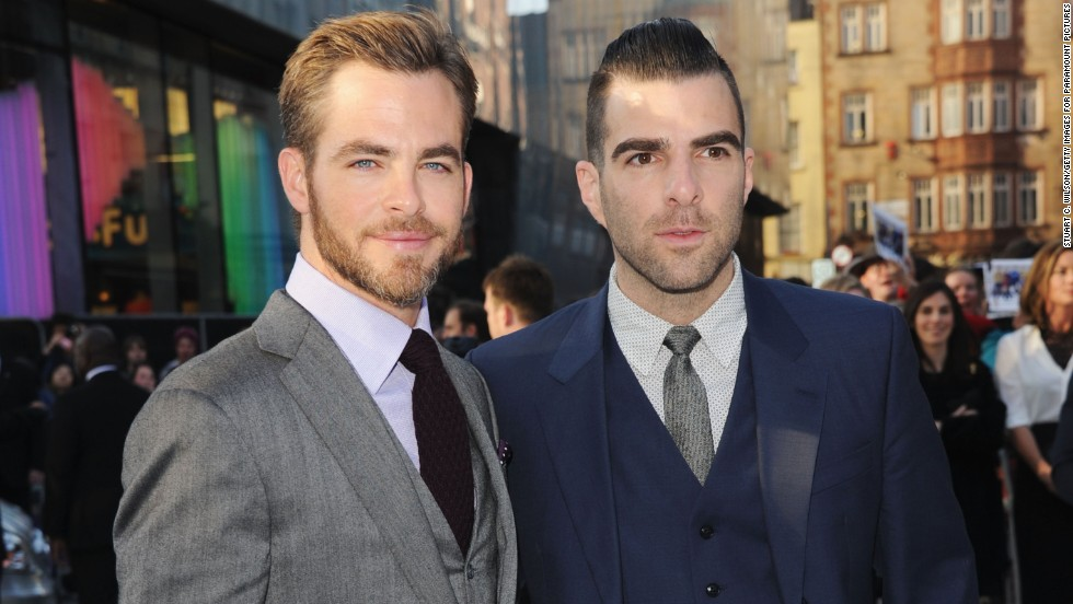 """Star Trek Into Darkness"" co-stars Chris Pine and Zachary Quinto pose together at the movie's U.K. premiere on May 2."