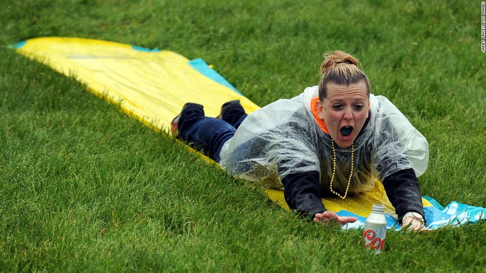 The wet weather made for a perfect excuse to break out a Slip-N-Slide on the infield.
