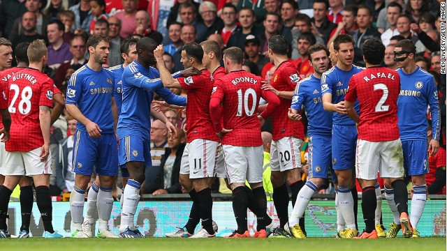Rafael Da Silva's clash with David Luiz caused a mass confrontation between the Manchester United and Chelsea players.