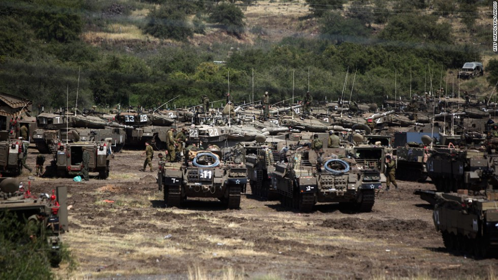 An Israeli tank division gathers before the start of a military exercise in the Golan Heights on April 23.