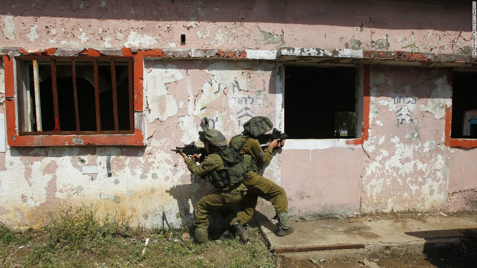 Israeli soldiers train in urban warfare in the Golan Heights on May 6.