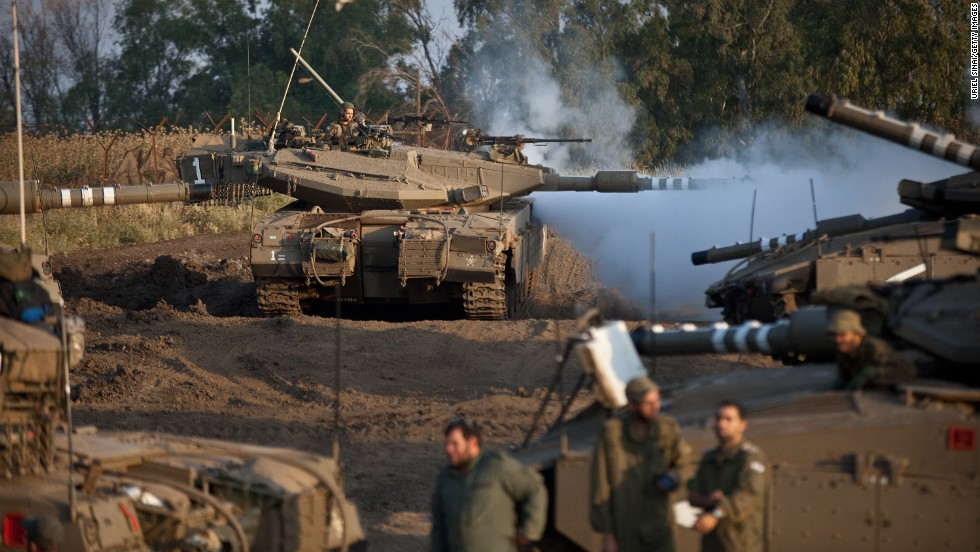 An Israeli drill includes Merkava tanks in the Israeli-annexed Golan Heights near the Syrian border on May 6.