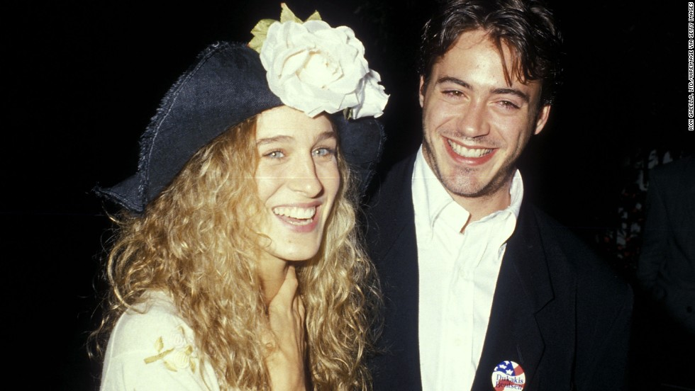 "Actress Sarah Jessica Parker and Downey dated for years during the 1980s, and according to Downey, they broke up in 1991<a href=""http://www.huffingtonpost.com/2008/04/16/robert-downey-jr-on-datin_n_97012.html"" target=""_blank""> because of his drug problem</a>. Here, the couple attend a cocktail party for the Dukakis presidential campaign at Norman Lear's home in Beverly Hills, California, on September 15, 1988."
