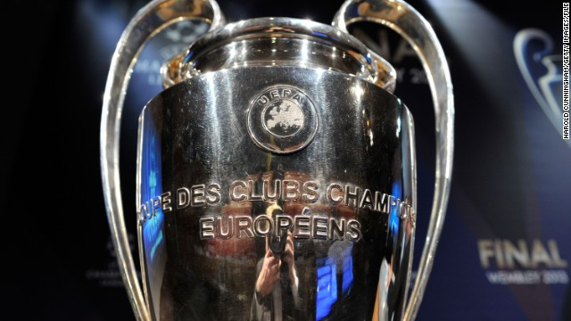 The UEFA Champions League trophy is displayed during the UEFA Champions League quarter finals draw at the UEFA headquarters on March 15, 2013 in Nyon, Switzerland.