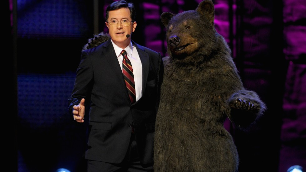 On May 18, Comedy Central host Stephen Colbert will speak at University of Virginia, his wife's alma mater. Here, he performs during a Comedy Central event. No bears are expected to attend the Virginia ceremony.