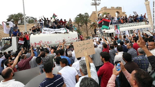 Protesters are pictured during a demonstration supporting the political isolation law in Tripoli's Martyrs Square on Sunday.