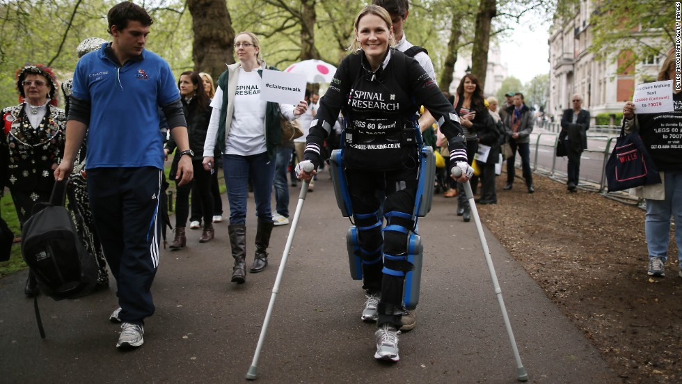 The Argo ReWalk aims to give people suffering from paralysis the power to walk again. It has already propelled Claire Lomas (pictured) to the finish of the London Marathon.