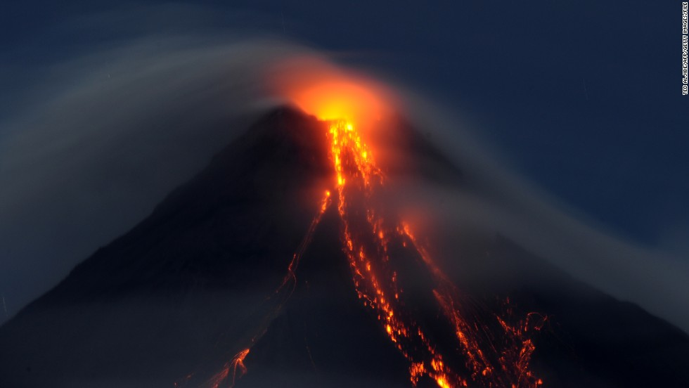 In 2009, lava cascaded down the slopes of Mayon volcano, 330 kilometres southeast of Manila.
