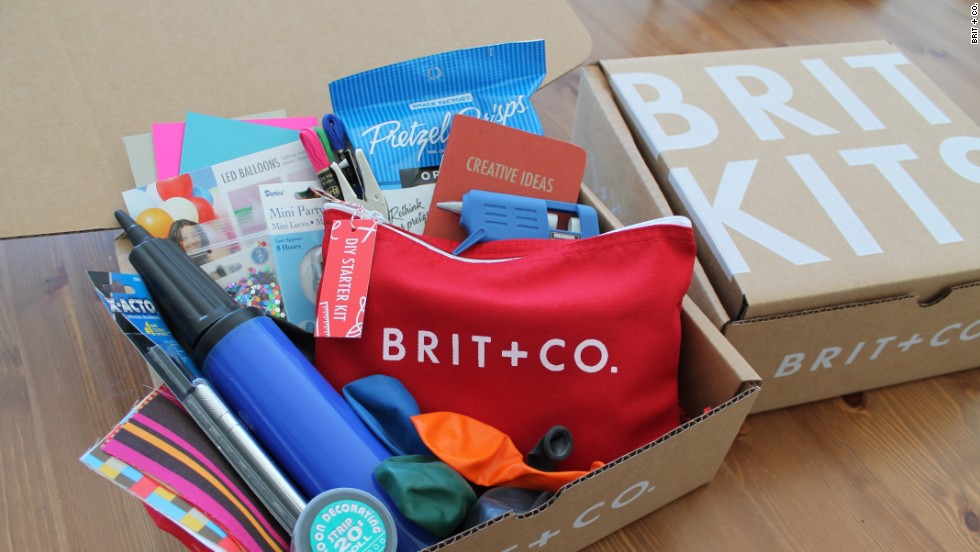 "Morin's site sells <a href=""http://www.brit.co/britkits/"" target=""_blank"">Brit Kits</a> that include supplies for DIY projects. The kits are mailed out each month and cost $20 to $30."
