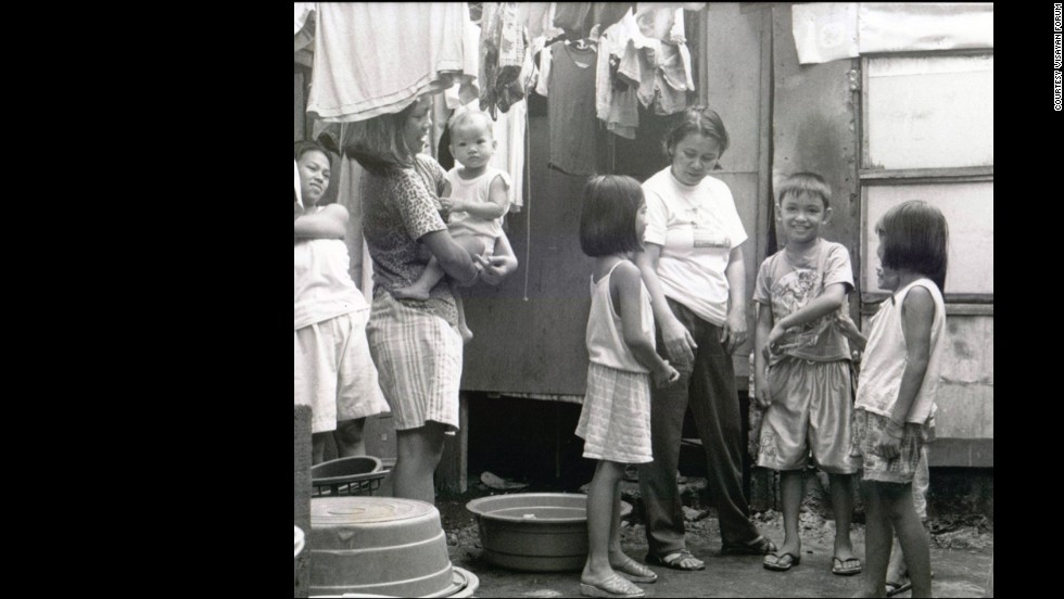 Oebanda is seen in the late 1990's working in poor communities of Manila with the Child Watch Network.