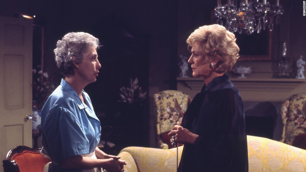 "Jeanne Cooper, right, appears as Katherine Chancellor alongside Julianna McCarthy as Liz Foster on ""The Young and the Restless"" in 1973. Cooper, who played the character of Mrs. Chancellor for nearly 40 years, died on May 8 at age 84."