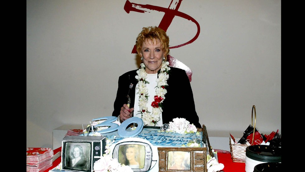 Cooper attends a celebration on January 28, 2004, in Los Angeles to mark the 30th anniversary of her playing Katherine Chancellor.