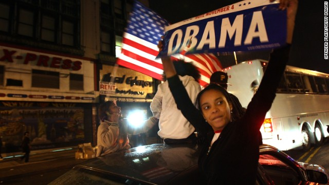 Residents in Harlem celebrate Barack Obama`s first election as president November 4, 2008, in New York City.