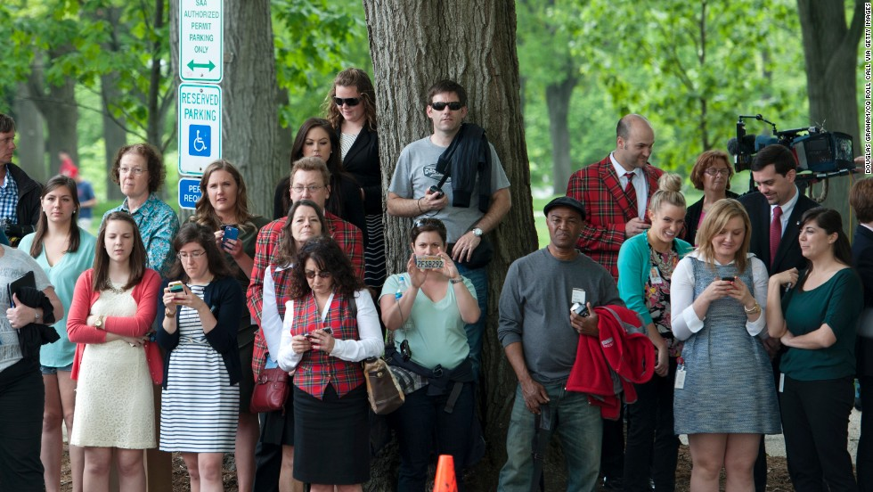 A crowd gathers to get a view of Prince Harry as he arrives on Capitol Hill on May 9.