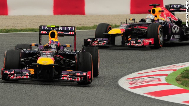 Sebastian Vettel leads teammate Mark Webber during practice sessions for the Spanish Grand Prix in Barcelona.