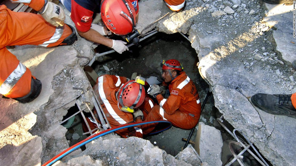 "<a href=""http://www.cnn.com/2005/WORLD/asiapcf/11/04/quake.redcross/"">Rashida Farooq</a>, a 45-year-old mother of three, is rescued from her home 105 hours after it collapsed in Muzaffarabad, Pakistan, on October 12, 2005. The 7.6-magnitude earthquake that hit the country killed 80,000 people."
