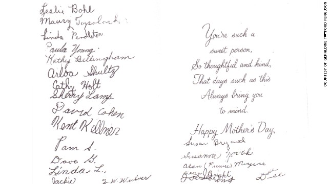 Back in 1958 when she was Miss Twyford, Geraldine Twyford Ferguson received this card signed by her 5th grade class