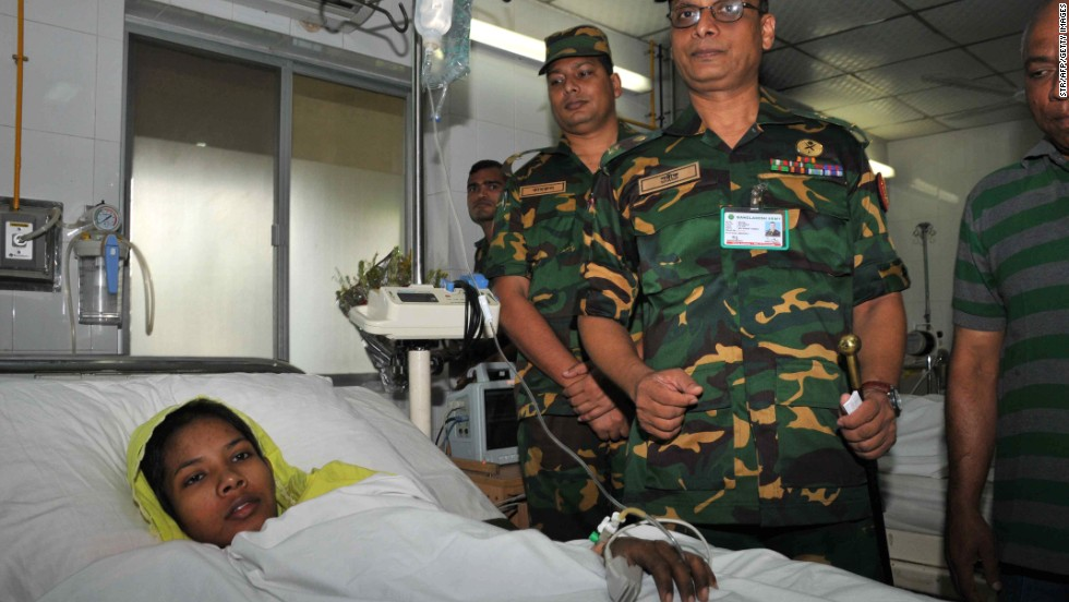 Bangladeshi garment worker Reshma Begum, a seamstress who survived 16 days trapped in the rubble of a collapsed building, rests in Savar Cantonment Hospital on the outskirts of Dhaka on May 11.