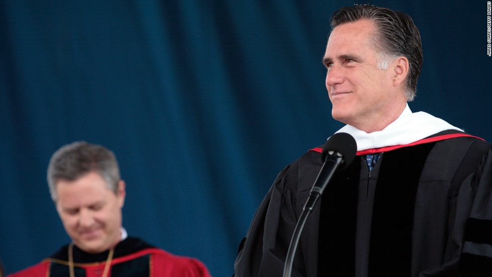 Former Massachusetts Gov. Mitt Romney delivered the commencement address at Southern Virginia University in Buena Vista, Virginia, in April. The school's students are predominantly Mormon, as is the former Republican presidential candidate. In 2012, Romney delivered the commencement address at Liberty University in Lynchburg, Virginia.