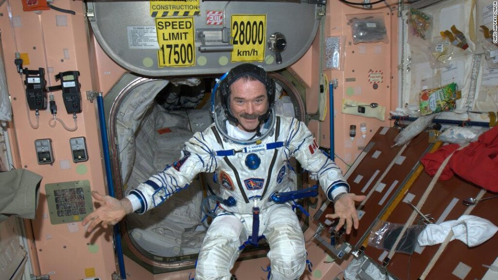 """Good to know that after 5 months, my Sokhol pressure suit still fits,"" Hadfield wrote on May 7. This ""high fashion"" photo posted on Twitter shows him <a href=""https://twitter.com/Cmdr_Hadfield/status/331749180580192256"" target=""_blank"">modeling his outfit for the trip home</a> in the Russian Soyuz space capsule."