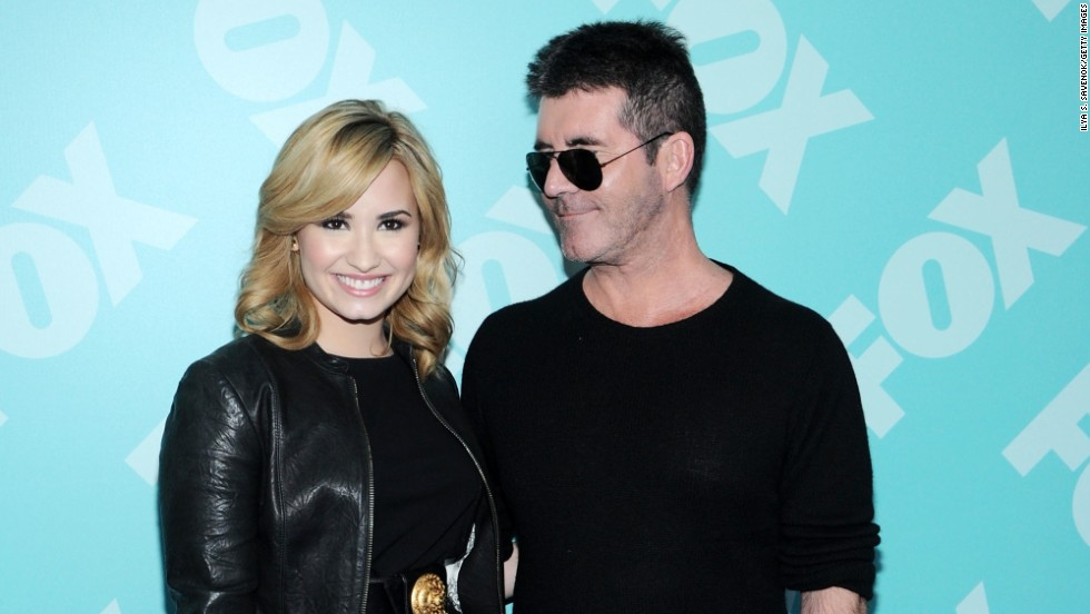 """X Factor's"" Demi Lovato and Simon Cowell attend Fox's upfront presentation on May 13."