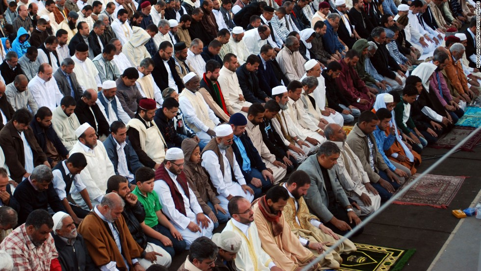 Muslims in Benghazi pray on November 6, 2011, the first day of Eid al-Adha, marking the end of the hajj pilgrimage to Mecca.