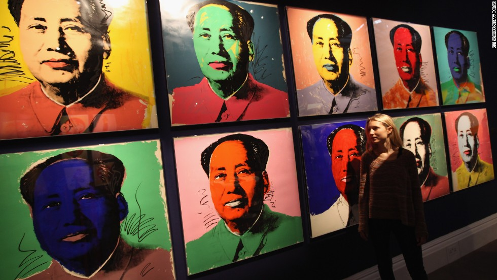 "Several of Warhol's ""Chairman Mao"" portraits from the collection of Gunter Sachs are pictured at the auction preview at Sotheby's London in May 2012."
