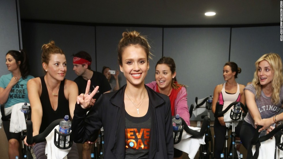 Jessica Alba gets a workout in at Flywheel West Hollywood on May 14 to benefit her Baby2Baby charity.