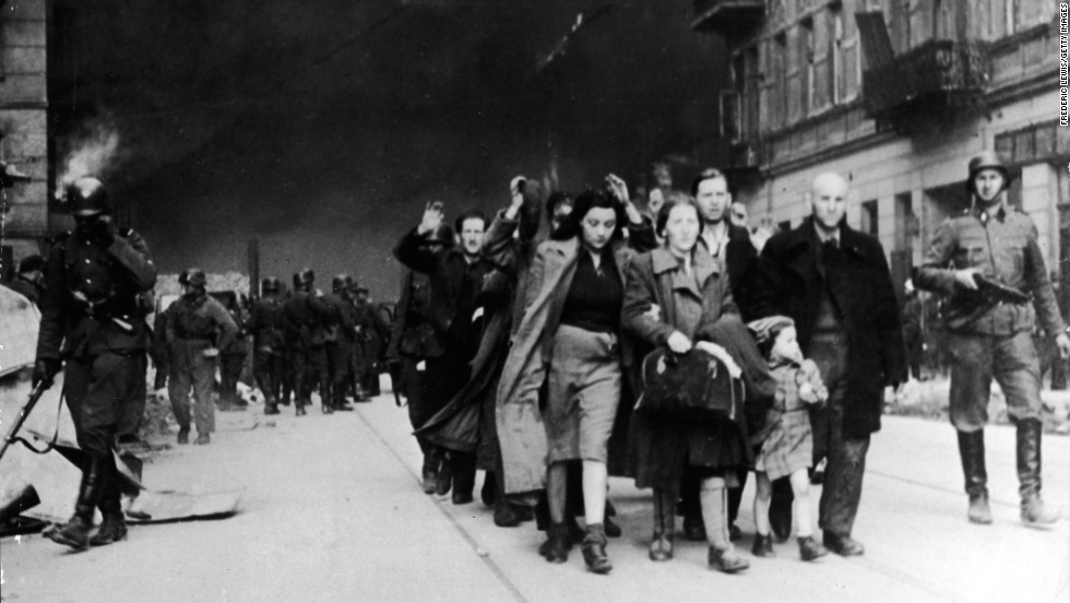 Poorly armed civilians were soon defeated by the Nazis. Pictured are captured Jewish civilians who participated in the uprising. Most of those arrested by Germans were murdered or transported into concentration camps.