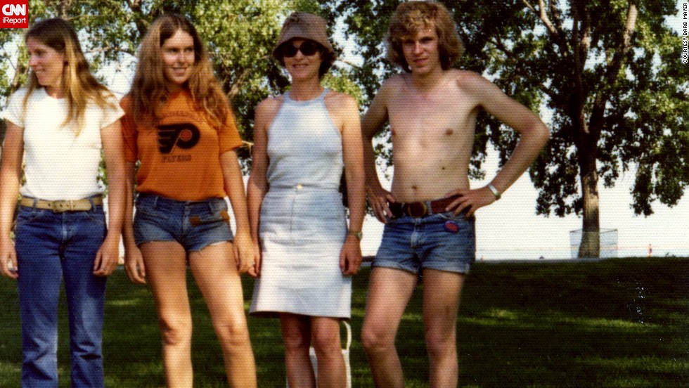 "Men were historically the ones promoting denim fashions, until <a href=""http://ireport.cnn.com/docs/DOC-965235"">cutoff denim shorts</a> came along. Barb Mayer, second from left, in 1974, says she would be embarrassed to wear such short shorts today."