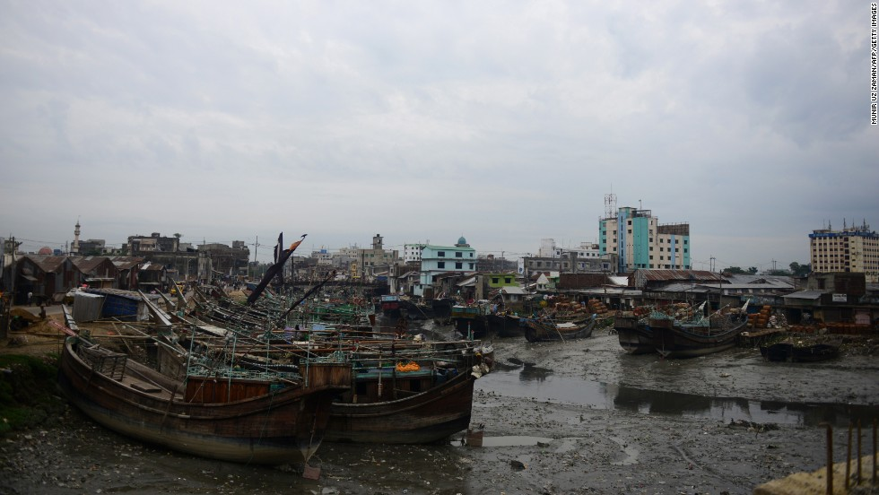 Fishing boats are tied up in Chittagong on May 15. The storm is forecast to make landfall late Thursday or early Friday in southeastern Bangladesh, near the port city of Chittagong.