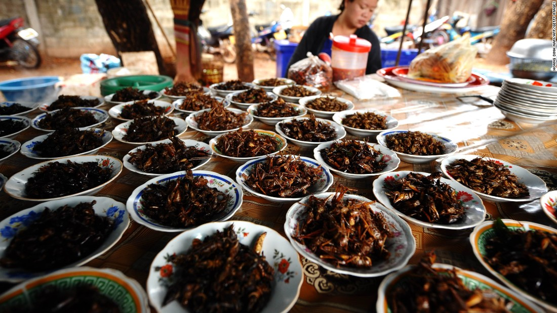 Fried crickets and grasshoppers at a market in Vientiane, Laos. Insects are a regular feature of diets across Asia, Africa, and Latin America.
