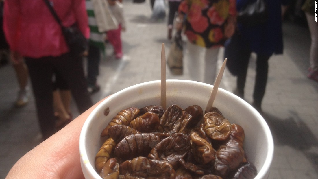 Boiled silkworm in South Korea.