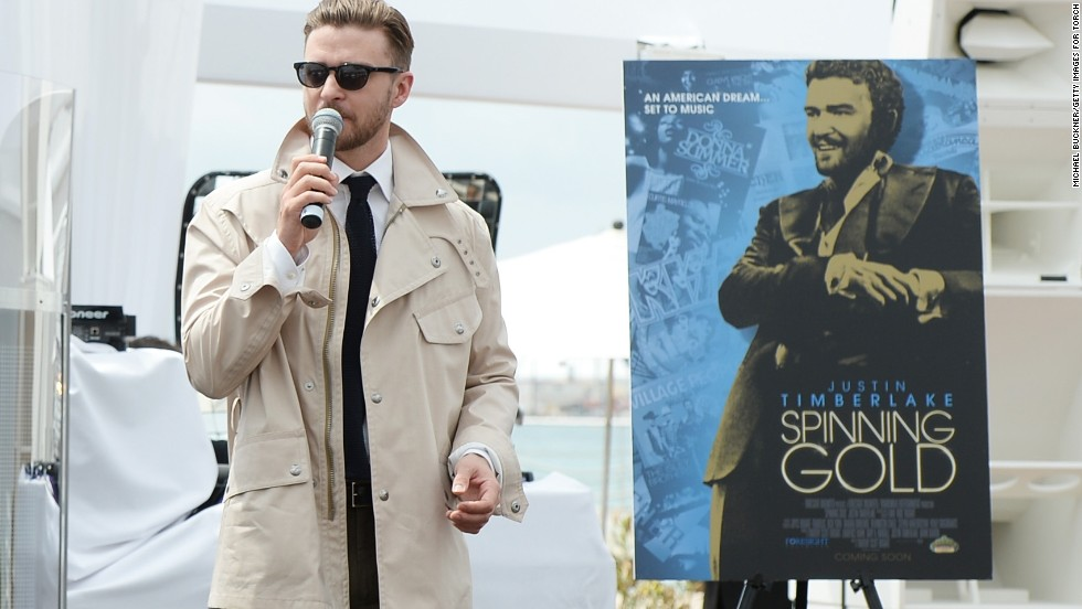 "Justin Timberlake speaks about his movie ""Spinning Gold"" at the Cannes Film Festival in Cannes, France on May 15."