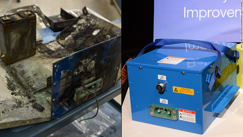 The redesigned battery system, right, adds a containment and venting system to prevent possible overheating from affecting the plane. At left is a battery case damaged during a flight on a Japan Airlines Boeing 787. It was one of two incidents that prompted the Dreamliner's grounding.