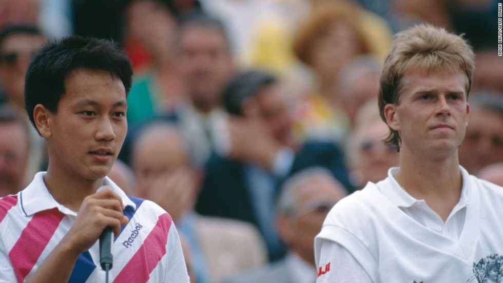 Stefan Edberg looks on glumly as Michael Chang gives his victory speech after the 1989 French Open final. Edberg, who lost in five sets to the 17-year-old, never progressed as far in Paris during the rest of his glittering career.