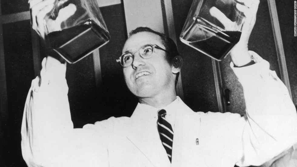"Dr. Jonas Salk was something of a scientific hero after developing the polio vaccine. Before it was widely used, more than 45,000 Americans contracted the virus each year. By 1962 -- less than 10 years after it was first tested -- the number of cases had dropped to 910, according to the Salk Institute. ""Salk never patented the vaccine, nor did he earn any money from his discovery, preferring to see it distributed as widely as possible,"" his <a href=""http://www.salk.edu/about/jonas_salk.html "" target=""_blank"">biography on Salk.edu</a> says."