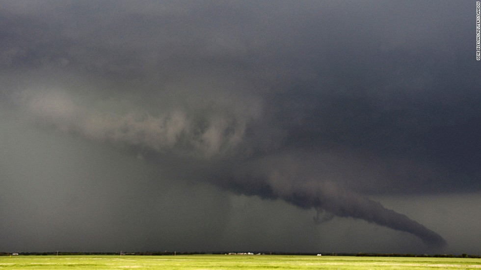 A twister stretches toward the ground near South Haven, Kansas, on May 19.